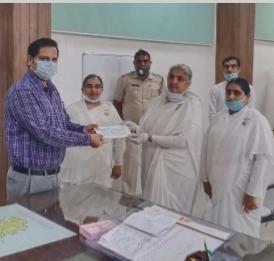 बहादुरगढ़ ब्रह्माकुमारीज़ द्वारा मुख्यमंत्री (हरियाणा) कोरोना राहत कोष के लिए 1 लाख रुपया का चेक दिया गया